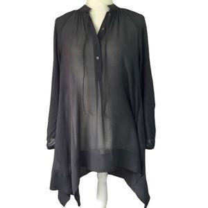 Club Monaco gray silk georgette oversized tunic